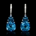 Diamond Blue Topaz and Blue Sapphire 18k White Gold Dangle Earrings
