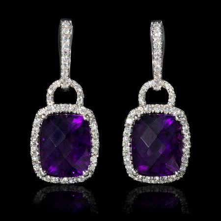 .56ct Diamond and Purple Amethyst 18k White Gold Dangle Earrings