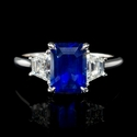 Diamond and Ceylon Blue Sapphire 18k White Gold Ring
