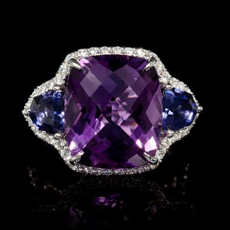 Diamond Amethyst and Iolite 18k White Gold Ring