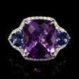 .61ct Diamond Amethyst and Iolite 18k White Gold Ring
