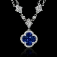 .66ct Diamond and Blue Sapphire 18k White Gold Pendant Necklace
