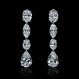 7.68ct GIA Certified Diamond 18k White Gold Dangle Earrings