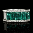 .35ct Diamond and Emerald 18k White Gold Ring