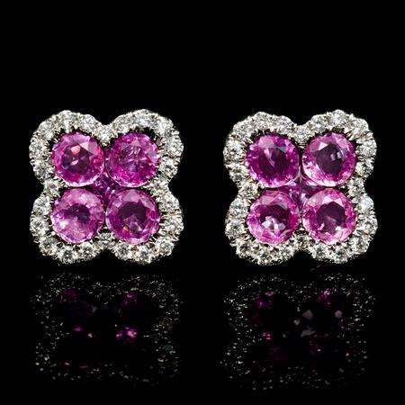 Diamond and Pink Sapphire 18k White Gold Cluster Earrings