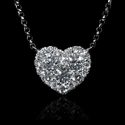 Diamond Heart Shaped 18k White Gold Pendant Necklace