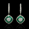 .76ct Diamond and Emerald 18k White Gold Dangle Earrings