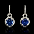 .47ct Diamond and Blue Sapphire 18k White Gold Dangle Earrings