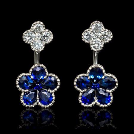 .40ct Diamond and Blue Sapphire 18k White Gold Dangle Earrings
