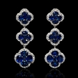 1.49cts Diamond and Blue Sapphire 18k White Gold Dangle Earrings