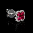 .16ct Diamond and Ruby 18k White Gold Cluster Earrings