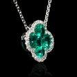.10ct Diamond and Emerald 18k White Gold Pendant