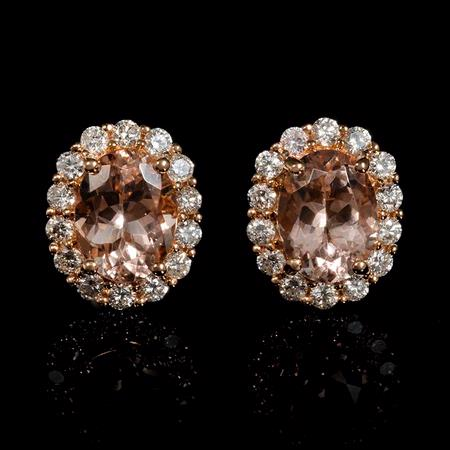 Diamond and Morganite 18k Rose Gold Cluster Earrings