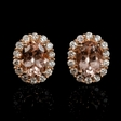.57ct Diamond and Morganite 18k Rose Gold Cluster Earrings