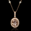 Diamond and Morganite 18k Rose Gold Pendant