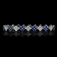 3.50cts Diamond and Blue Sapphire 18k White Gold Bracelet