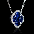 .10ct Diamond and Blue Sapphire 18k White Gold Pendant Necklace