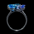 .08ct Diamond, Tanzanite, Blue Topaz and Blue Sapphire 18k White Gold Ring