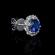 .75ct Diamond and Blue Sapphire 18k White Gold Cluster Earrings