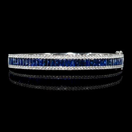 1.30cts Diamond and Blue Sapphire 18k White Gold Bracelet