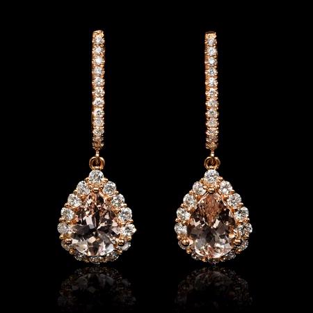 Diamond and Morganite 18k Rose Gold Dangle Earrings