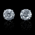 Diamond 3.06 Carats 18k White Gold Stud Earrings