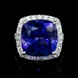 2.01ct Diamond and Tanzanite 18k White Gold Ring