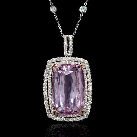 Diamond and Kunzite 14k Two Tone Gold Pendant Necklace