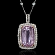2.28cts Diamond and Kunzite 14k White and Yellow Gold Pendant Necklace