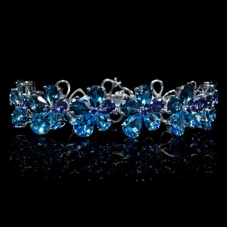 Tanzanite, Blue Topaz and Sapphire 18k White Gold Bracelet
