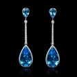 .46ct Diamond Blue Topaz 18k White Gold Dangle Earrings