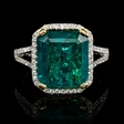 .41ct Diamond and Emerald 18k White and Yellow Gold Ring