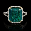 Diamond and Emerald 18k Two Tone Gold Ring