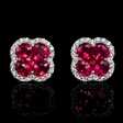 .22ct Diamond and Ruby 18k White Gold Cluster Earrings