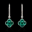 .21ct Diamond and Emerald 18k White Gold Dangle Earrings