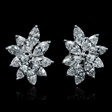 3.19cts Diamond 18k White Gold Cluster Earrings