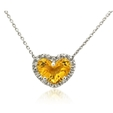 .10ct Diamond & Citrine 14k White Gold Heart Pendant Necklace