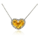 Diamond & Citrine 14k White Gold Heart Pendant Necklace