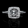 .22ct Diamond 18k White Gold Halo Engagement Ring Setting