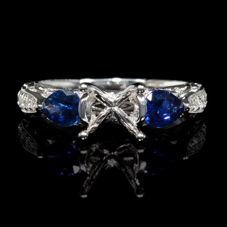 Diamond Blue Sapphire Antique Style 18k White Gold Engagement Ring Setting