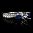 .47ct Diamond Blue Sapphire Antique Style 18k White Gold Engagement Ring Setting