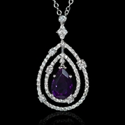 Diamond and Purple Amethyst 18k White Gold Pendant Necklace
