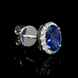 .28ct Diamond and Blue Sapphire 18k White Gold Cluster Earrings