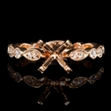 Diamond Antique Style 18k Rose Gold Engagement Ring Setting