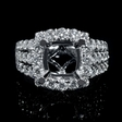 1.60cts Diamond 18k White Gold Halo Engagement Ring Setting
