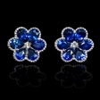 .07ct Diamond and Blue Sapphire 18k White Gold Cluster Earrings