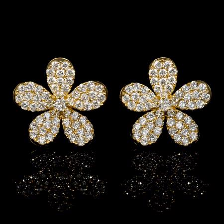1.19cts Diamond 18k Yellow Gold Cluster Earrings