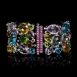 .40ct Diamond Pink Sapphire Blue Sapphire and Semi Precious Stone 18k White Gold Bracelet
