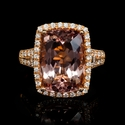 Diamond Morganite 18k Rose Gold Ring