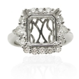 1.21ct Diamond Platinum Halo Engagement Ring Setting